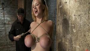 Hogtied escorted by busty blonde haired Katie Morgan
