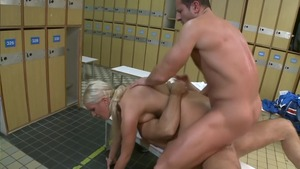Roleplay together with skinny bald european blonde