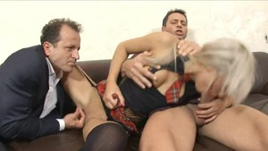 Threesome along with blonde babe