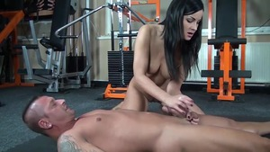 Femdom at the gym along with mistress