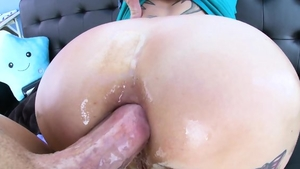Ass fucking escorted by huge boobs redhead in sexy lingerie