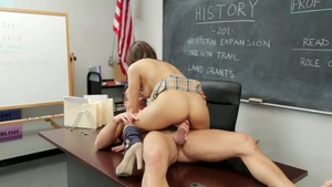 Plowing hard with bitch Sara Luvv in the school in HD