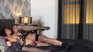 Brunette Tina Kay in sexy lingerie sucking dick
