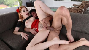 Super juicy redhead Amarna Miller hard pounding pussy fucking