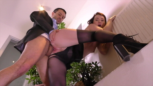 Brunette Misha Cross in tight stockings raw anal fucks
