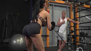 Babe Aletta Ocean cock sucking in the gym