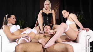Threesome starring charming pornstar