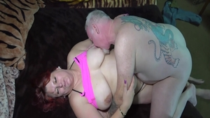 Exotic chick and big tits mature ass pounding