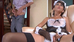 Very small tits maid pounding orgasm in HD