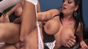 Busty Kerry Louise threesome sex tape