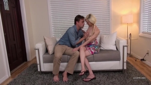 Small tits blonde Elsa Jean wearing jeans hard nailed hard