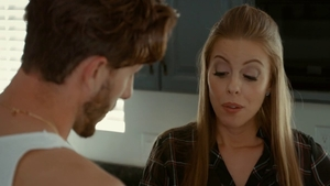 Cougar Britney Amber swallow in the kitchen