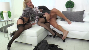 Shona River in sexy stockings and Nick Lang