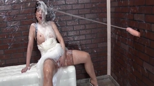 Large tits Therese Bizarre blowjob cum at the wedding