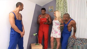 Big tits wife surprise cuckhold gangbang in HD