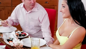 Dirty & large boobs Lucia Denville seduce in the kitchen