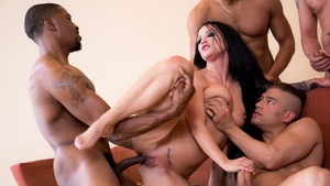 Hard pounding together with Gina Valentina and Ricky Johnson