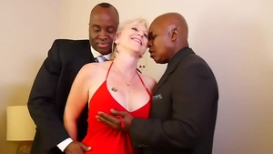 Big boobs mature submissive threesome