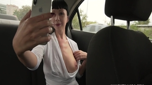Amateur Naughty Lada masturbating in the taxi