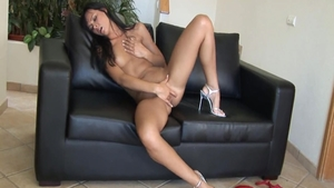 Very hot and young brunette first time masturbating solo