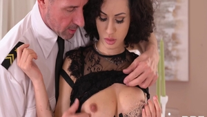 Shaved stepmom Crystal Clear rushes hard nailining in a dress