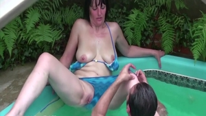 Hairy housewife craving hardcore real fucking in the garden