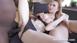 Huge boobs extreme anal interracial threesome HD
