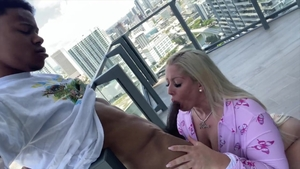 Large boobs blonde interracial pounding in the balcony