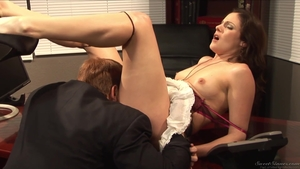 Goes wild on cock in office