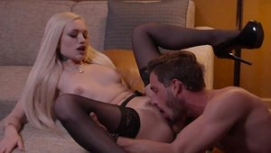 Inked blonde Alex Grey feels up to cock sucking