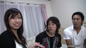 Threesome at casting hairy asian