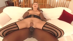 Big ass blonde Mandy Bright in stockings interracial sex in HD