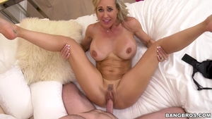 Blonde Brandi Love goes wild on cock