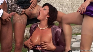 Stepmom group sex outdoors in HD