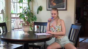 Very small tits Lily Rader playing with toys