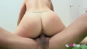 Tattooed and beautiful couple sucking cock at the casting
