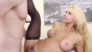 Blonde babe Sarah Vandella bends to get fucked scene HD