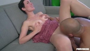 Handjob in the company of shaved brunette