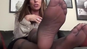 Aunt feet licking in stockings solo