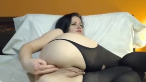 Solo big boobs female in stockings pussy fucking