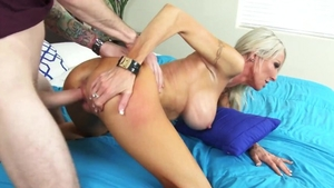 Sucking cock together with young MILF
