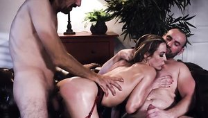 Big butt Aiden Ashley threesome in sexy lingerie