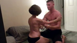 Hard nailining in company with young housewife