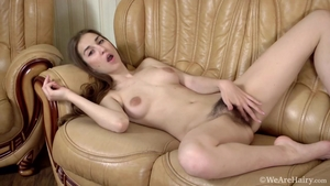 Hairy brunette pussy eating at the casting