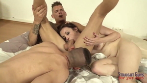 Bisexual goes in for threesome HD