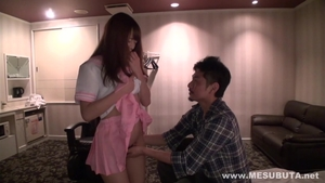 Rough fucking in company with super hot japanese brunette