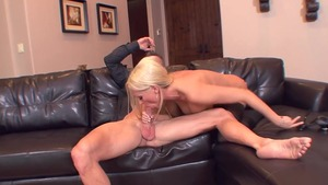 Blonde Diana Doll in tight stockings cock sucking
