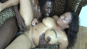 Large boobs ebony amateur dick sucking during interview
