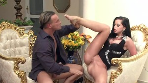 Huge tits Larissa Dee sucking cock