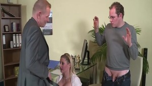 Busty mature threesome in office